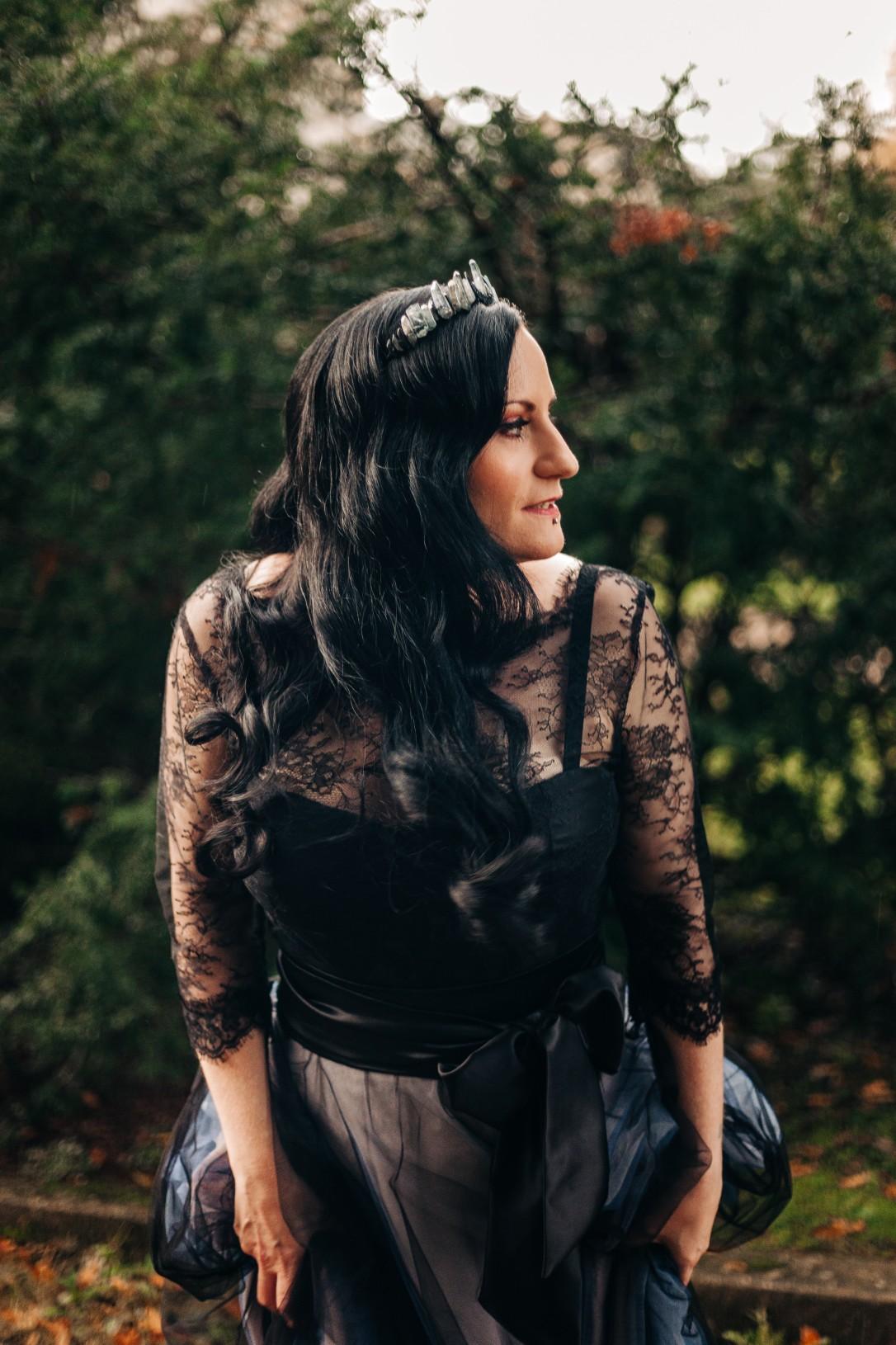alternative wedding dress - gothic bridal look - black wedding dress - gothic wedding