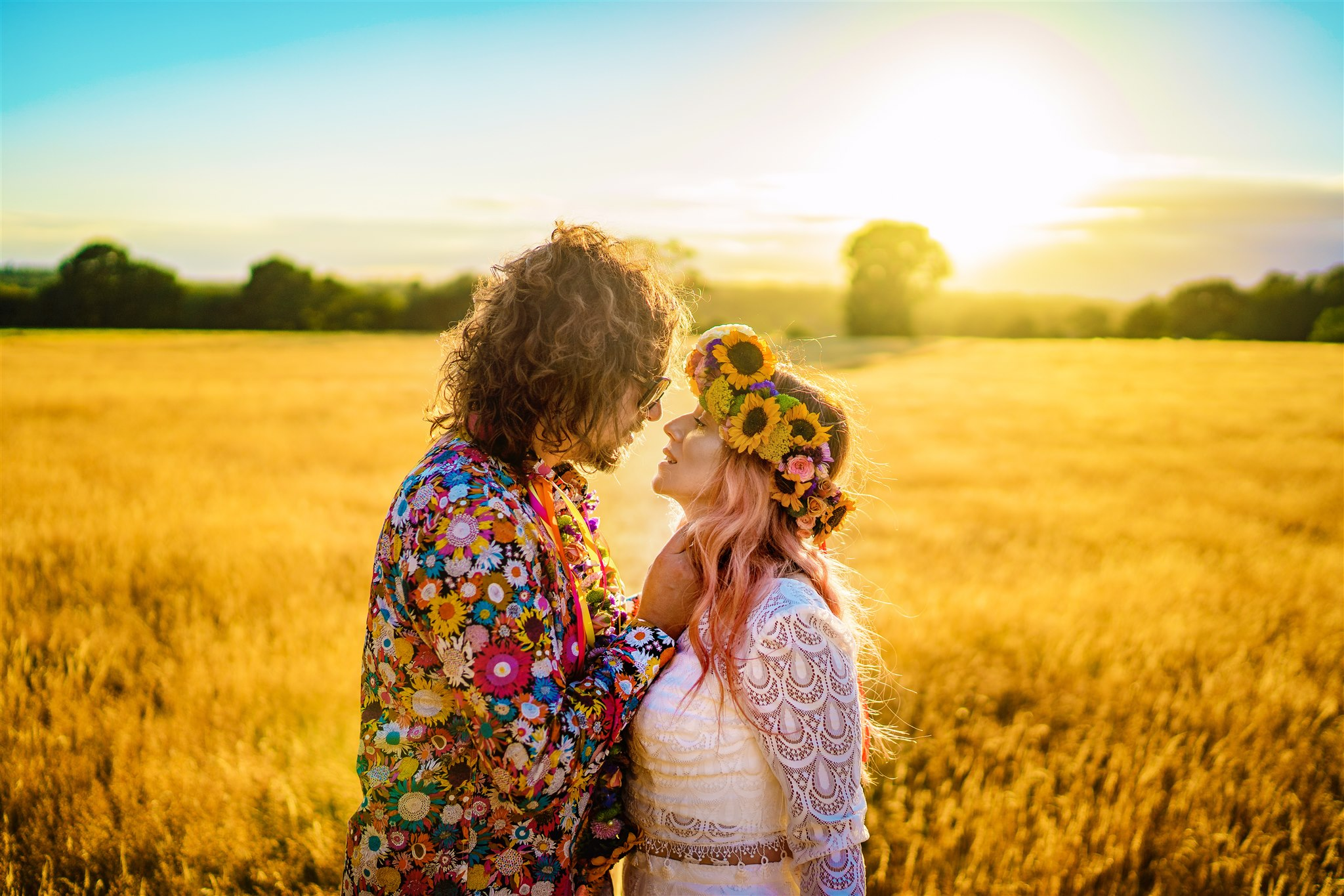 colourful bohemian wedding - 70s wedding - campervan wedding - hippie wedding - hippie bride and groom