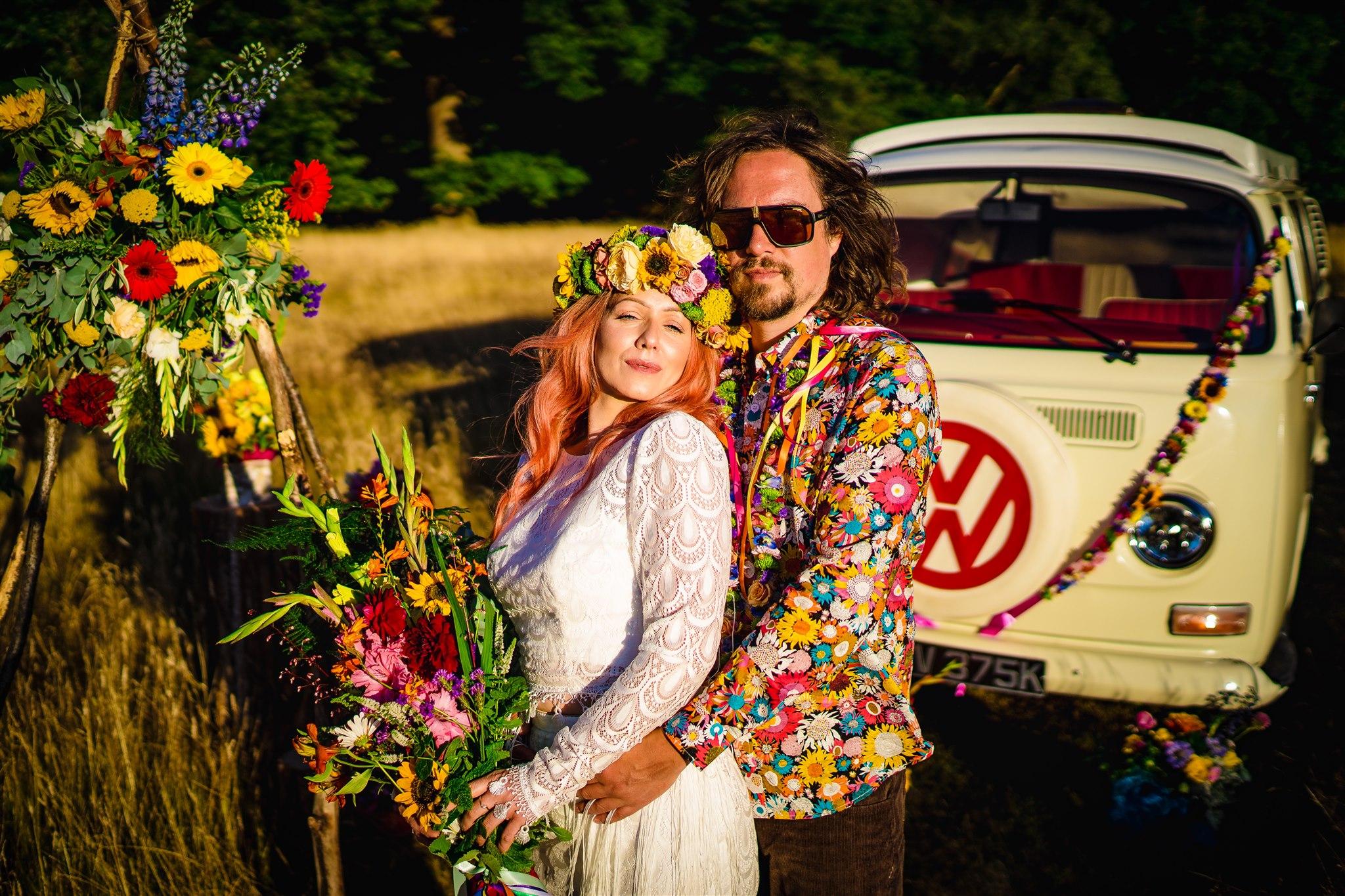 colourful bohemian wedding - 70s wedding - campervan wedding - hippie wedding - colourful wedding flowers