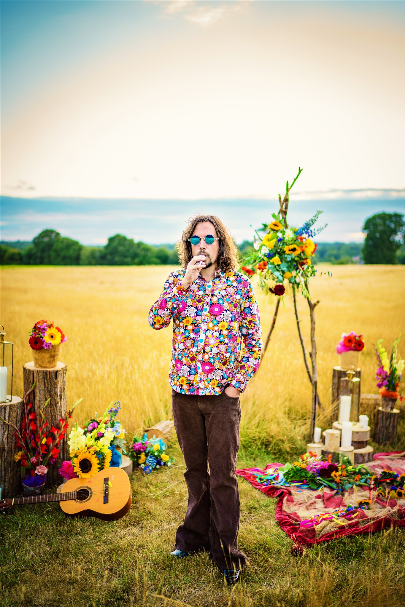 colourful bohemian wedding - 70s wedding - hippie wedding - unique groomswear