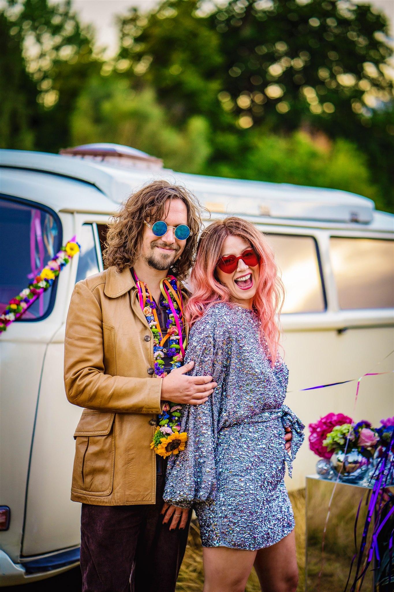 colourful bohemian wedding - 70s wedding - alternative elopement - alternative wedding