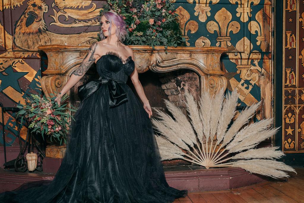 black wedding dress - gothic wedding dress - alternative wedding - unconventional wedding