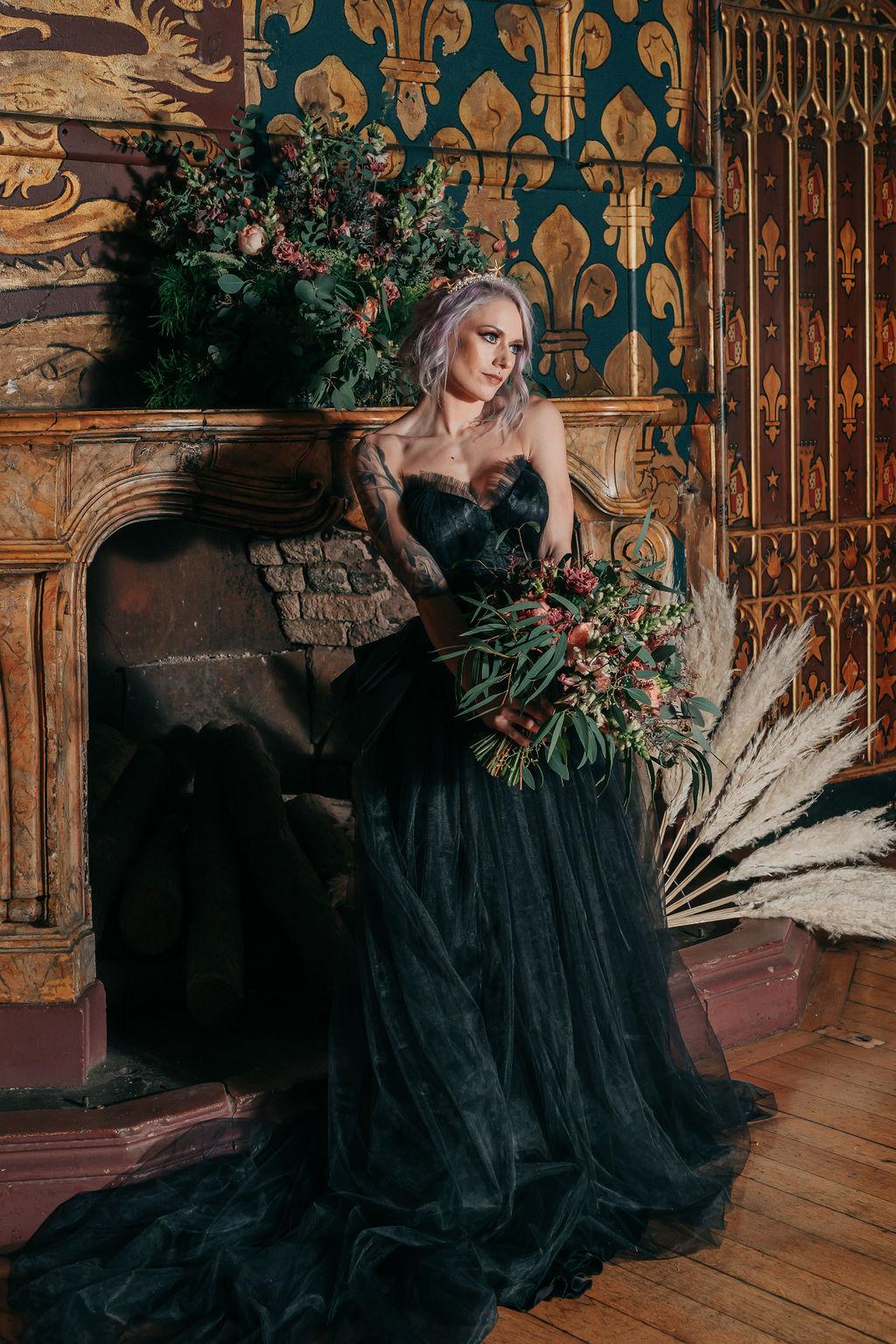 black wedding dress - alternative wedding dress - unique bridal look