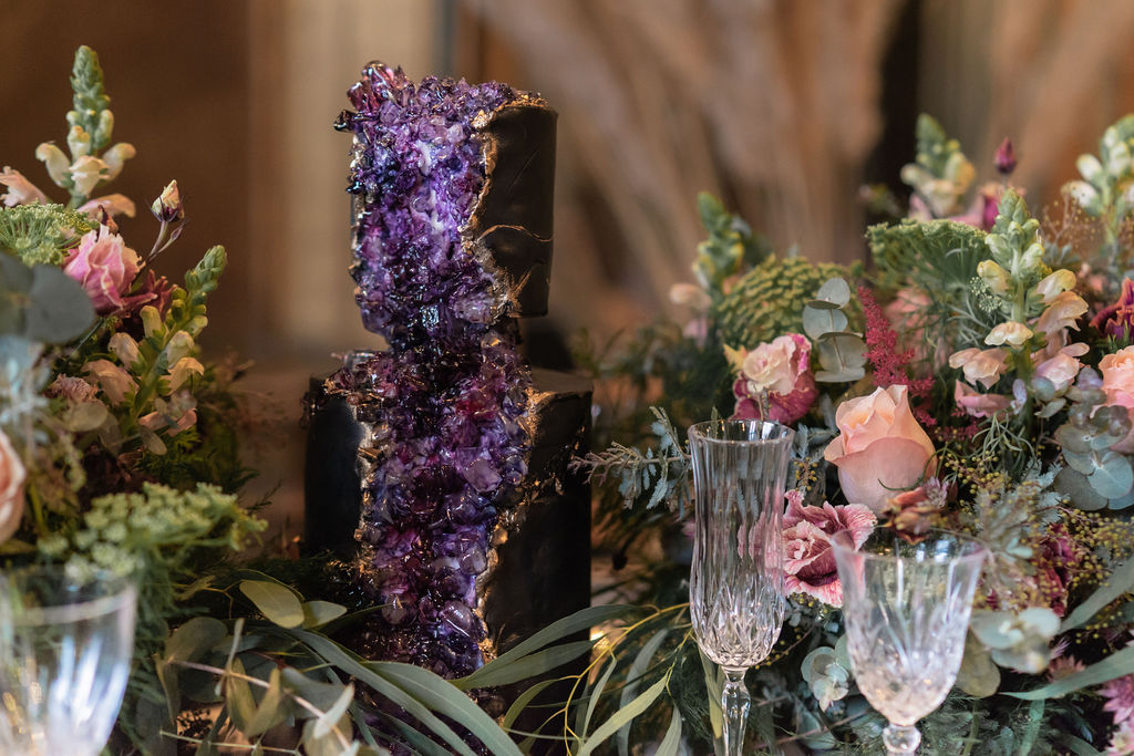 amethyst cake - crystal wedding cake - unique wedding cake - alternative wedding cake - unconventional wedding