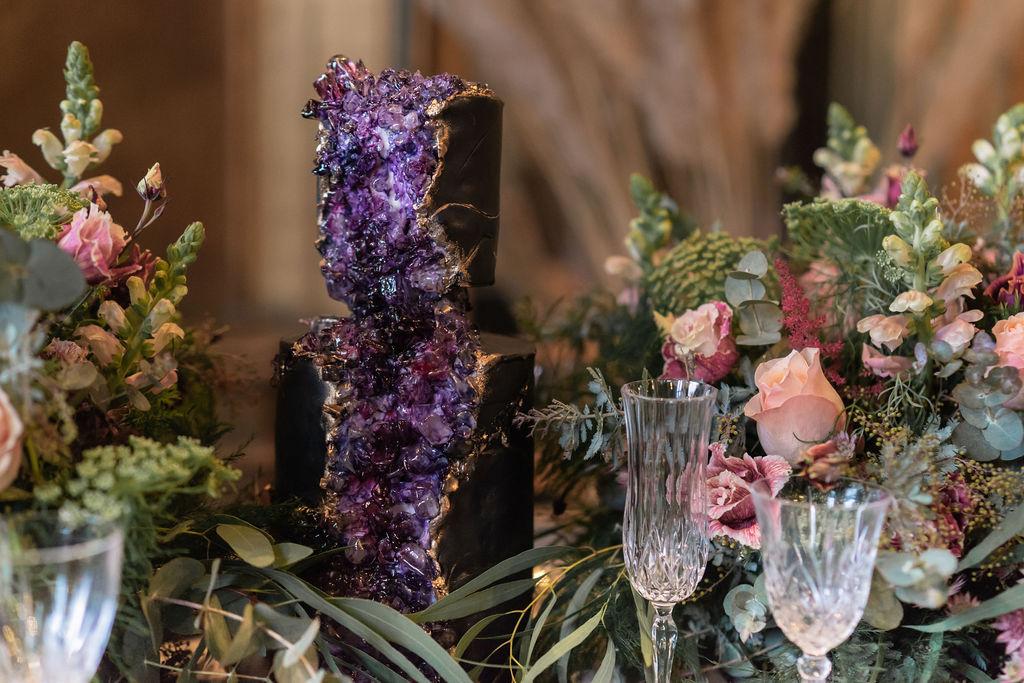 amethyst cake - crystal wedding cake - unique wedding cake - alternative wedding cake - unconventional wedding