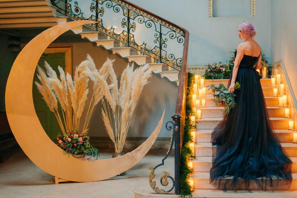 celestial wedding - moon wedding prop - black wedding dress - wedding pampas grass - alternative wedding