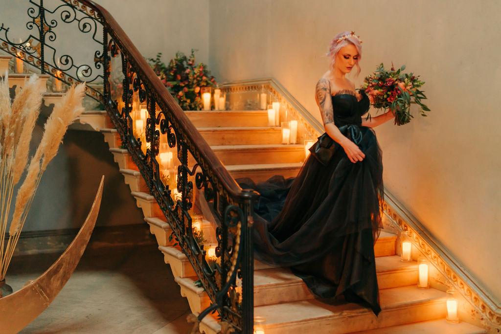 celestial gothic wedding - moon wedding prop - black wedding dress - alternative bridal wear- alternative wedding