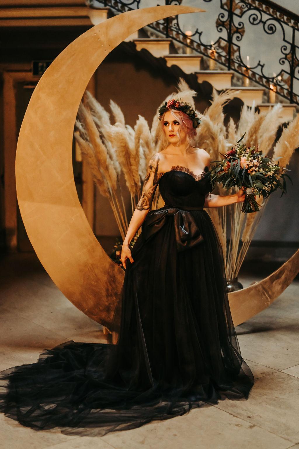 celestial gothic wedding - moon wedding prop - black wedding dress - alternative wedding - edgy wedding