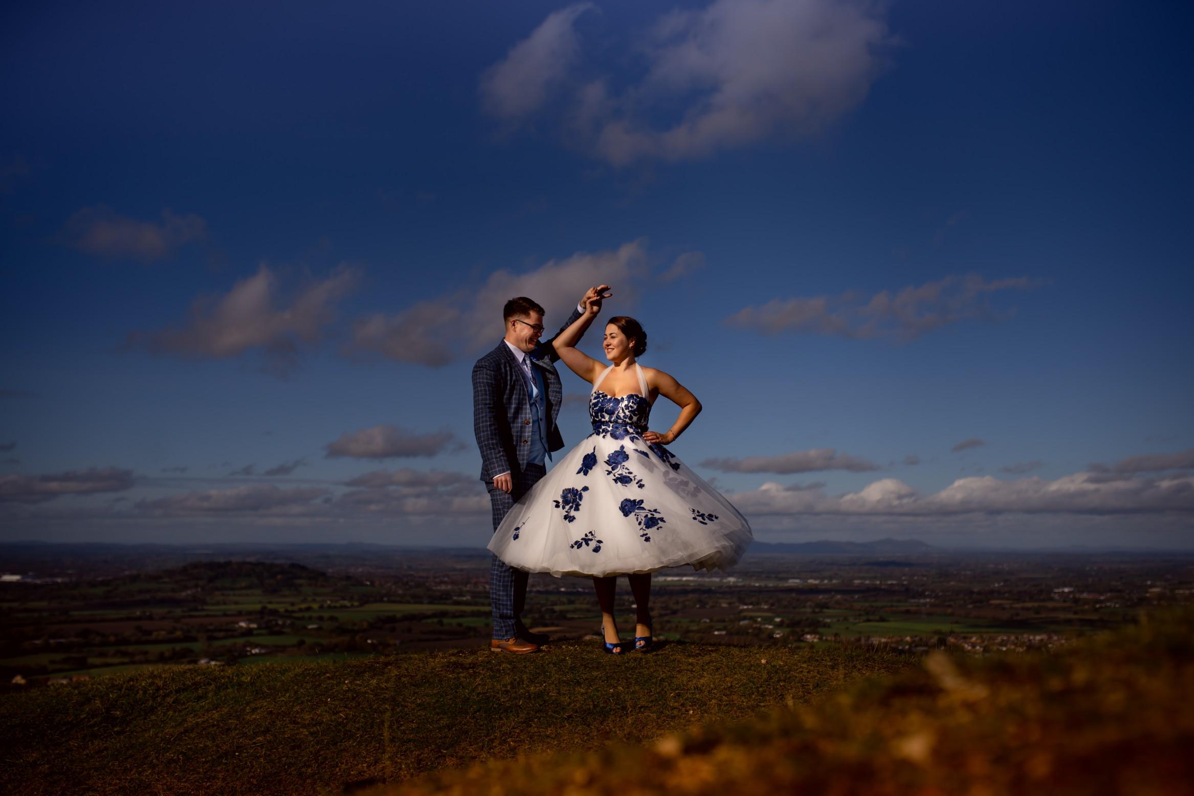 bride and groom dancing - alternative wedding photography - creative wedding photography - artistic wedding photography - vintage wedding dress