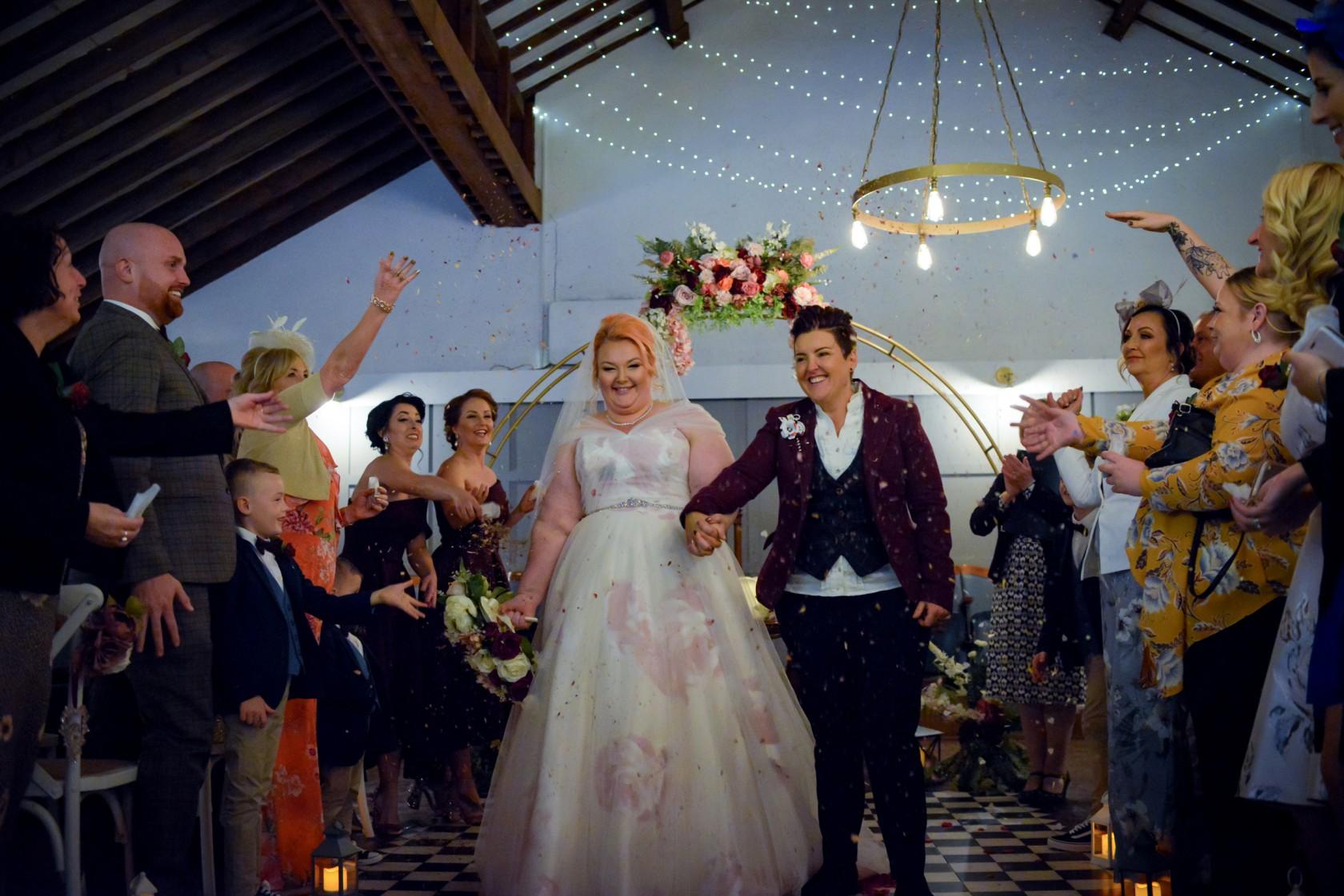 wedding confetti shot - wonderland wedding - real wedding inspiration - DIY wedding - romantic wedding - same sex wedding - lgbtq wedding - unconventional wedding