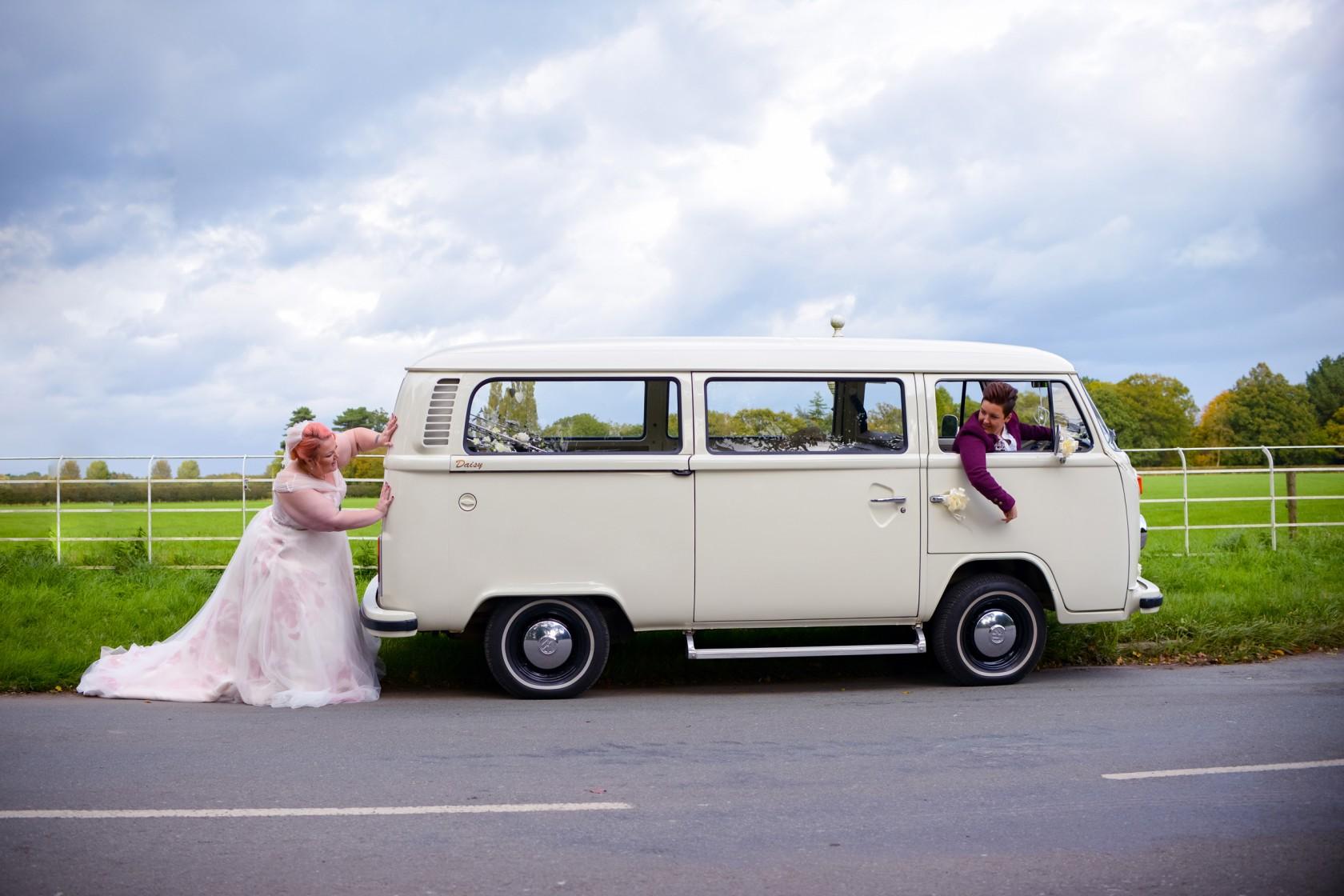 wonderland wedding - real wedding inspiration - DIY wedding - romantic wedding - same sex wedding - lgbtq wedding - unconventional wedding - wedding camper van - fun wedding photo