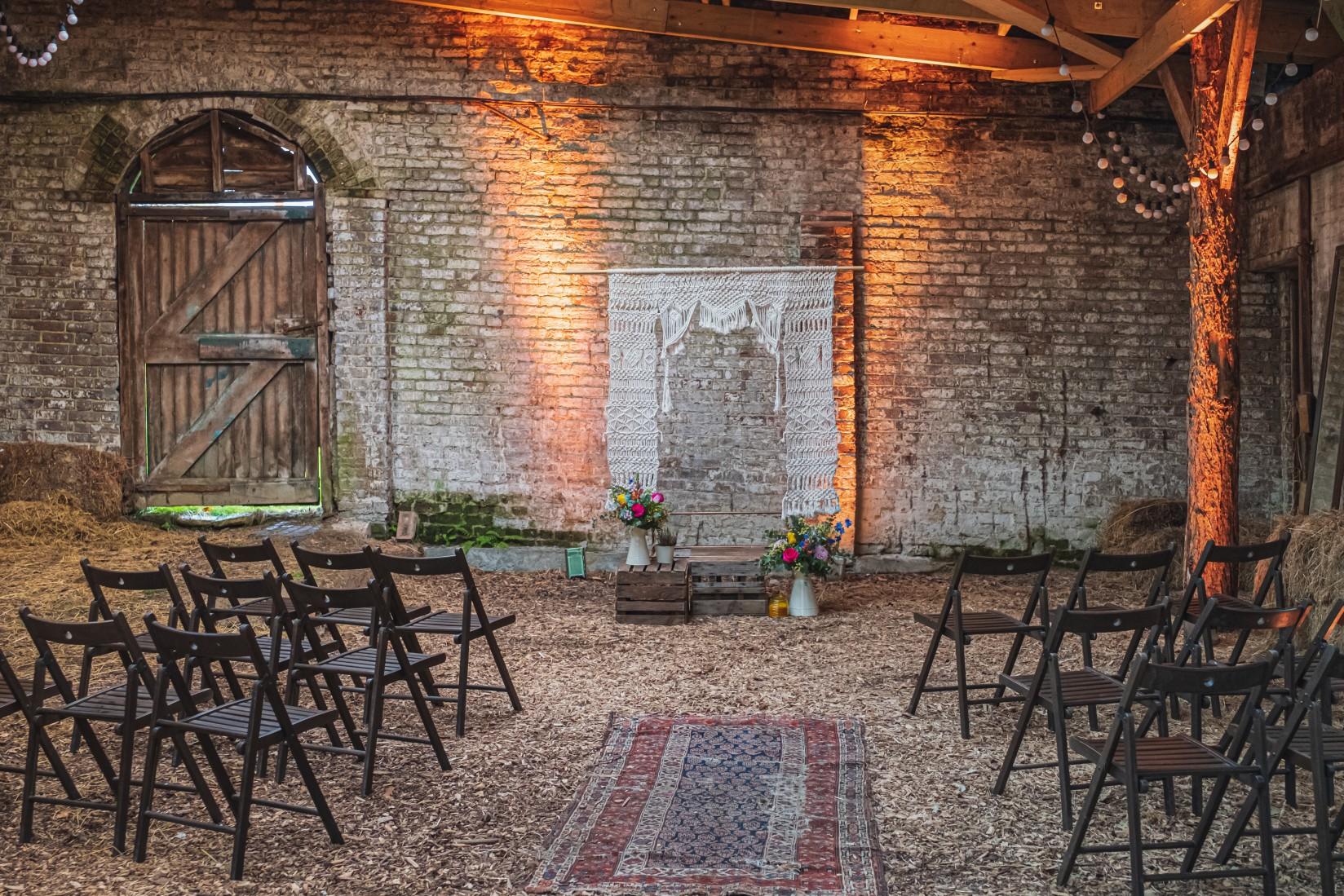 colourful micro wedding at patricks barn - unique wedding ceremony - outdoor wedding ceremony - bohemian wedding ceremony - sussex wedding venue