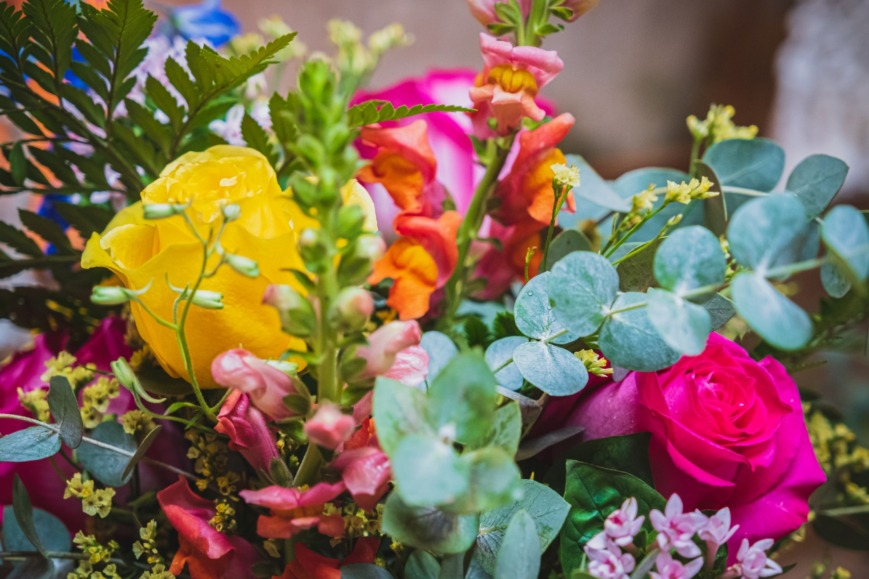 colourful wedding flowers - quirky wedding flowers - unique wedding flowers