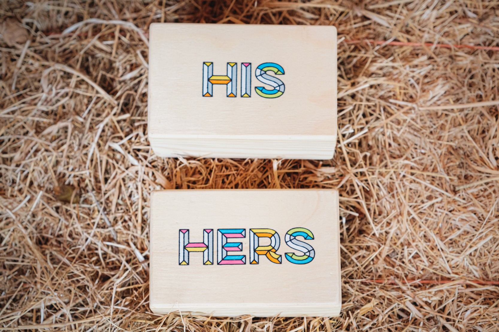 his & hers ring boxes - unique wedding ring boxes - colourful ring boxes - unconventional wedding