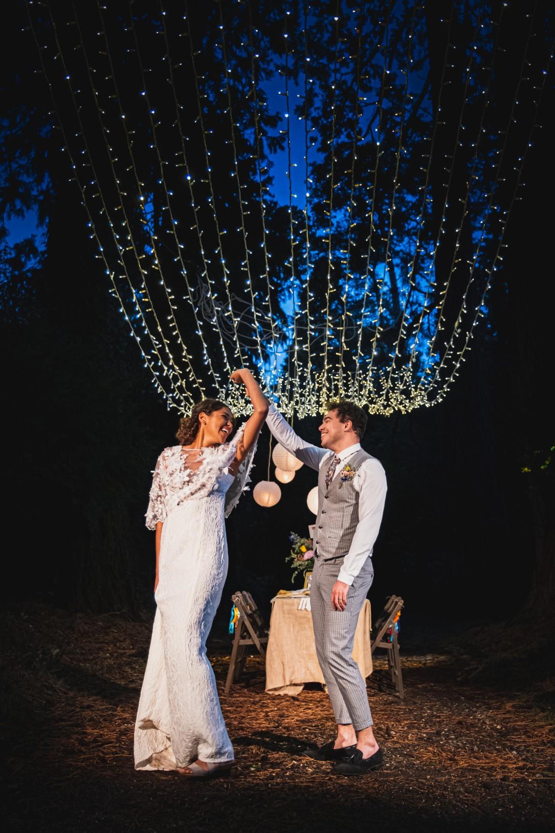 colourful micro wedding at patricks barn - bride and groom dancing - outdoor wedding - boho wedding