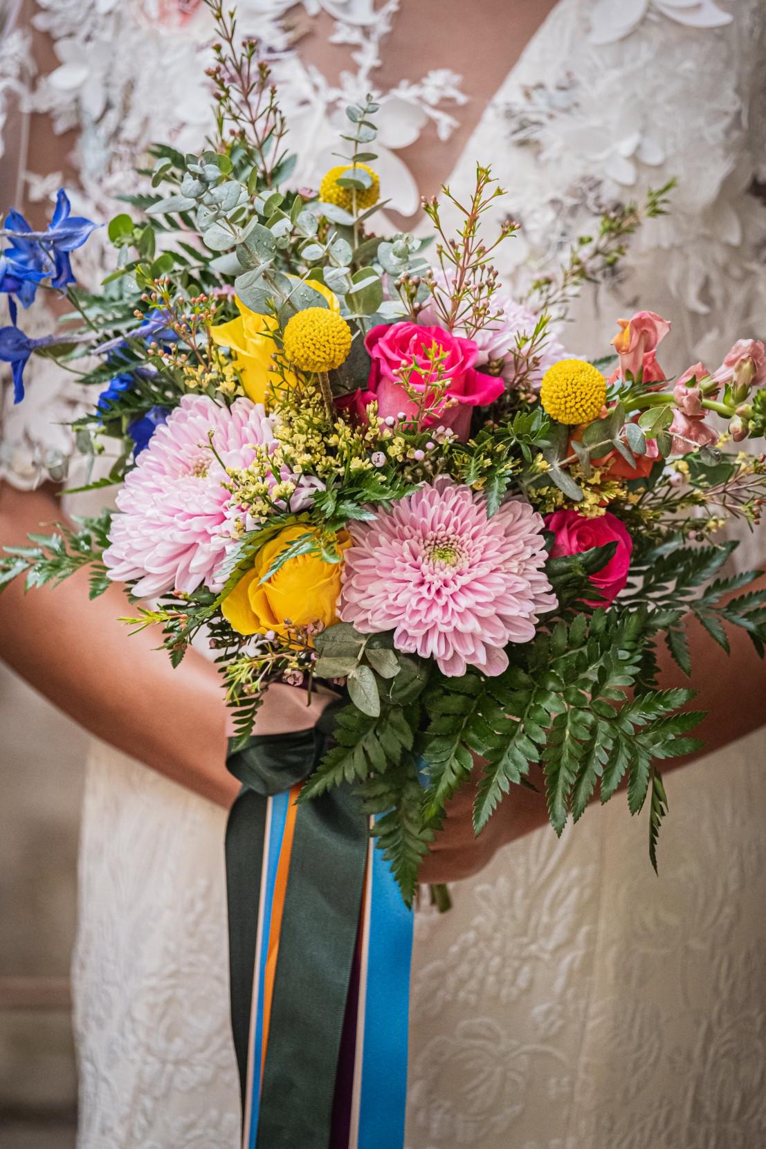 colourful micro wedding at patricks barn - colourful wedding bouquet - colourful wedding flowers - rainbow wedding flowers