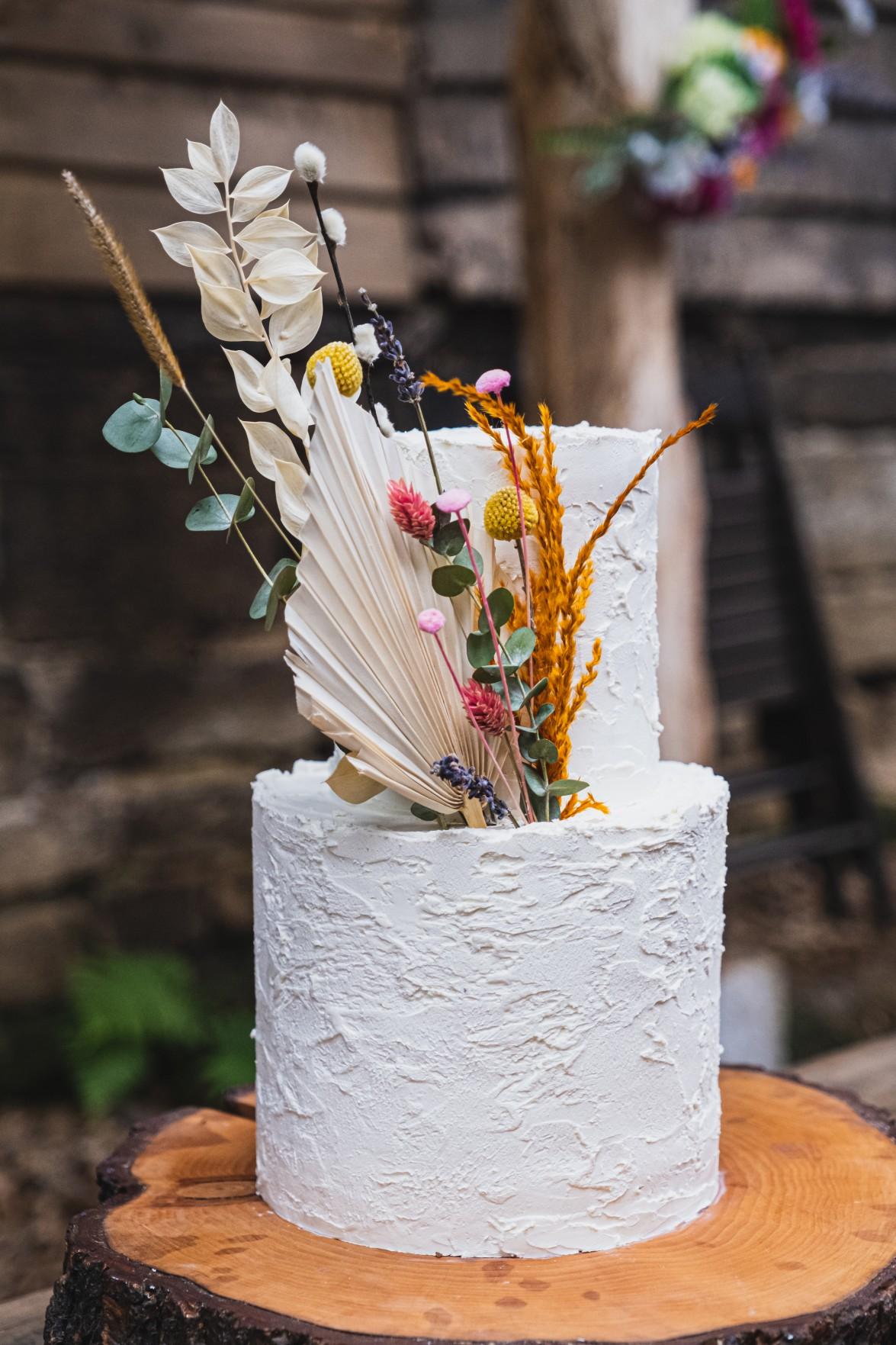 colourful micro wedding at patricks barn - quirky wedding cake - unusual wedding cake - small wedding cake