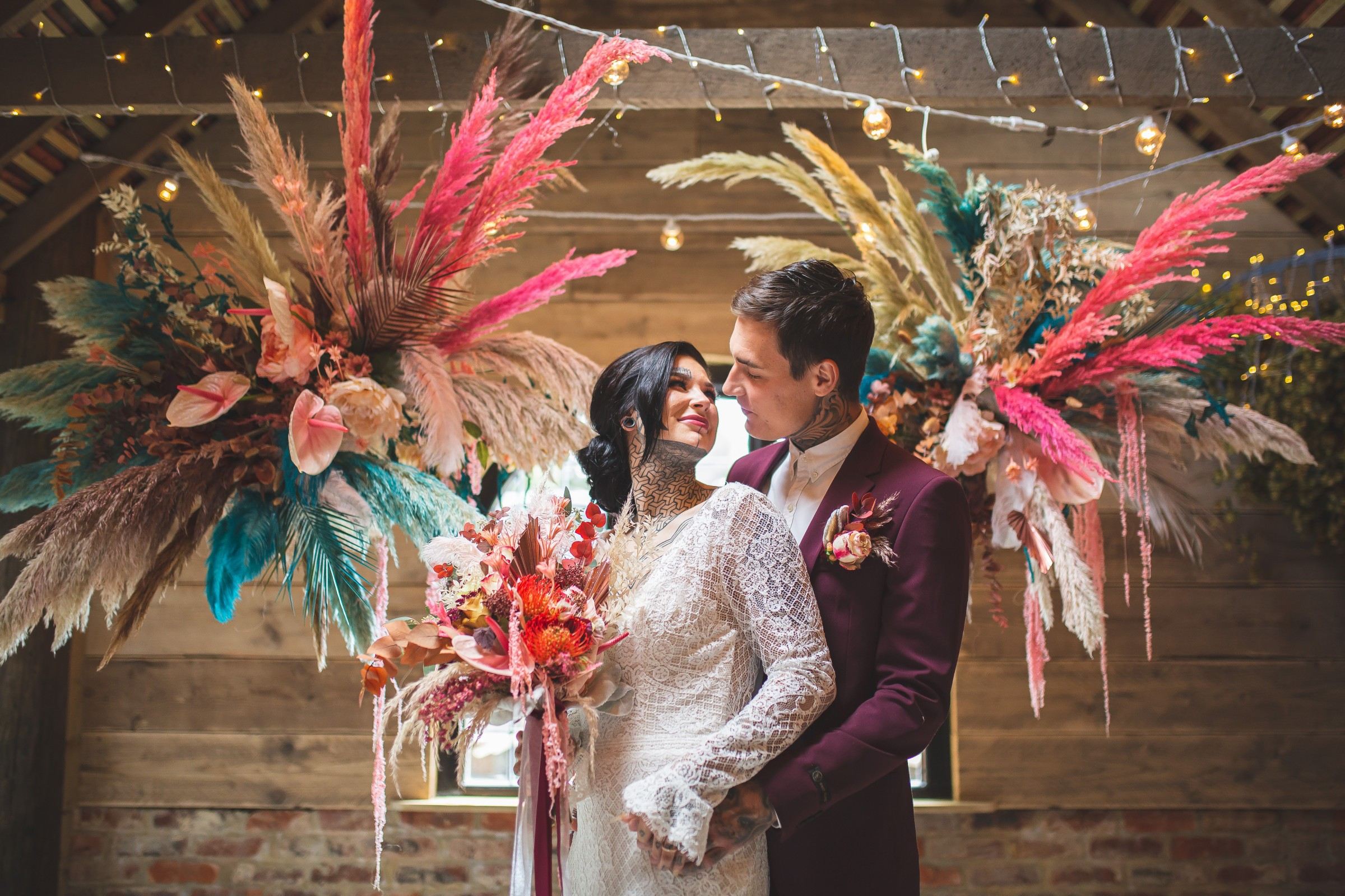unique barn wedding - creative wedding styling - bright wedding - modern wedding - unique wedding flowers - colourful wedding flowers - alternative wedding - unconventional wedding