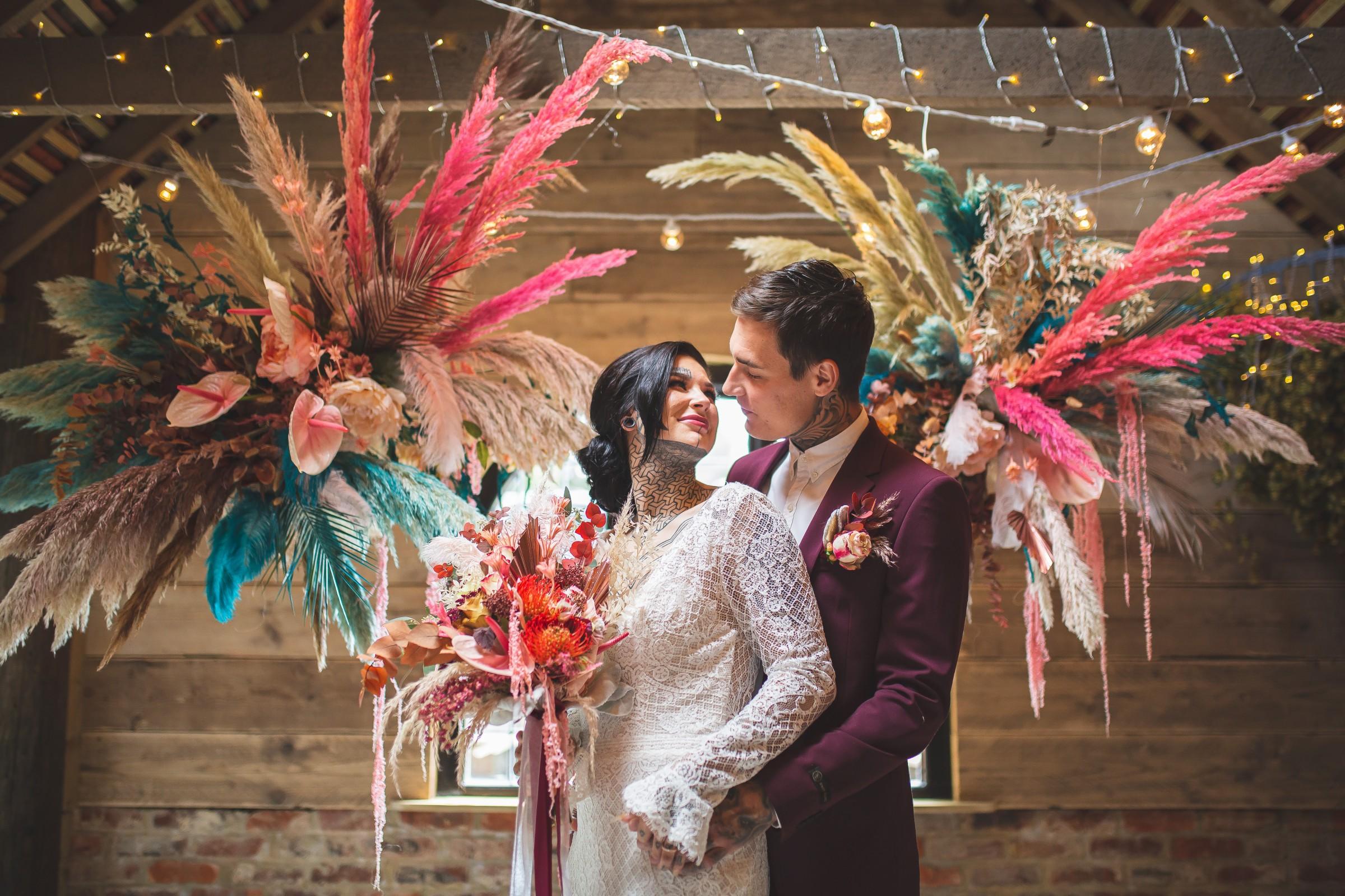unique barn wedding - creative wedding styling - bright wedding - modern wedding - unique wedding flowers - colourful wedding flowers - alternative wedding - unconventional wedding