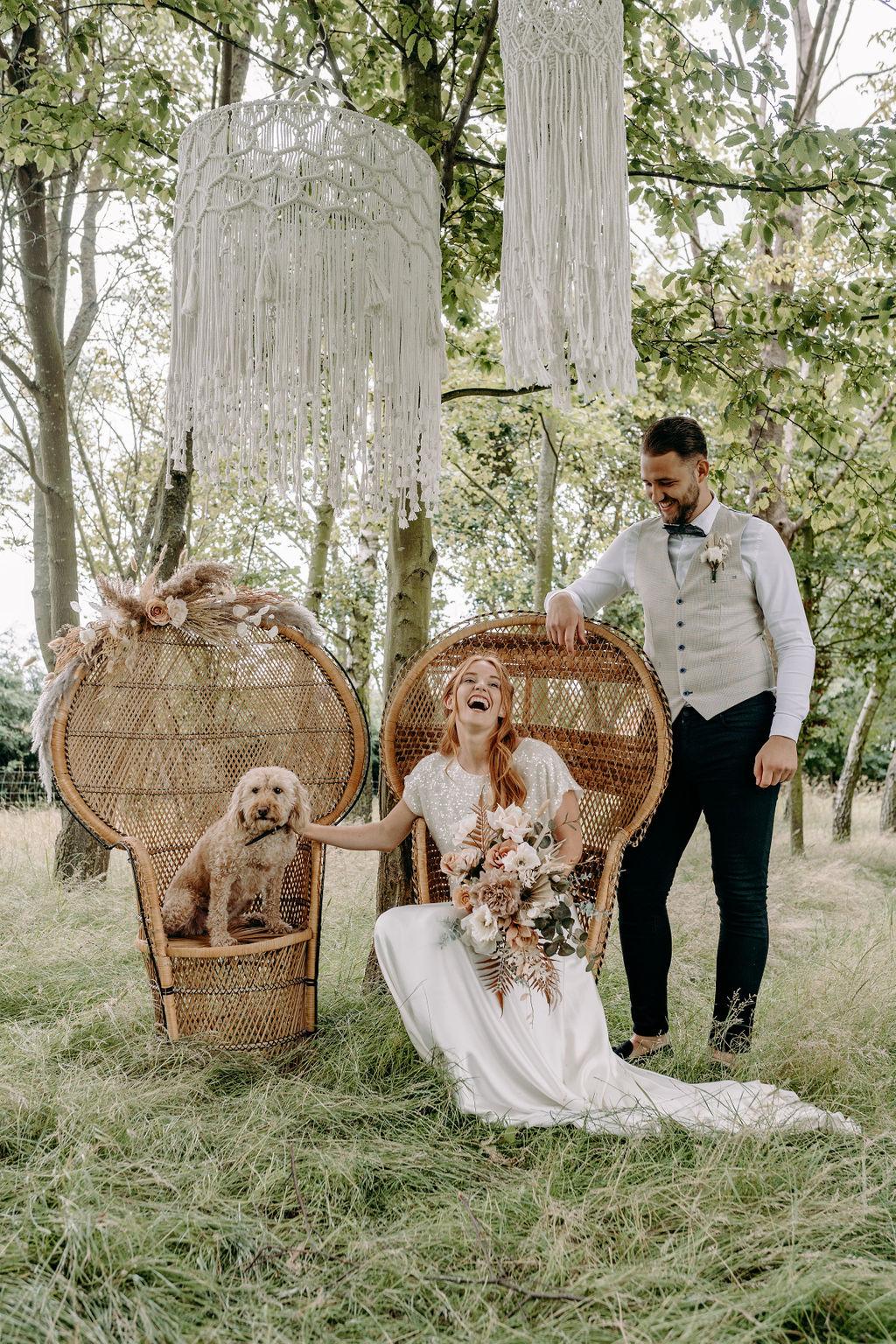 sustainable boho wedding - vintage wedding styling - wedding chair rental - wedding wicker chair - bohemian wedding - small wedding