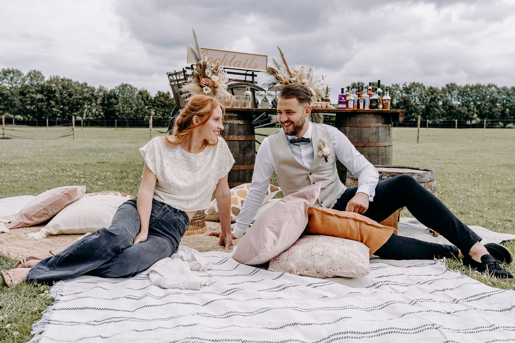 sustainable boho wedding - wedding picnic - zero waste wedding - casual wedding - unconventional wedding