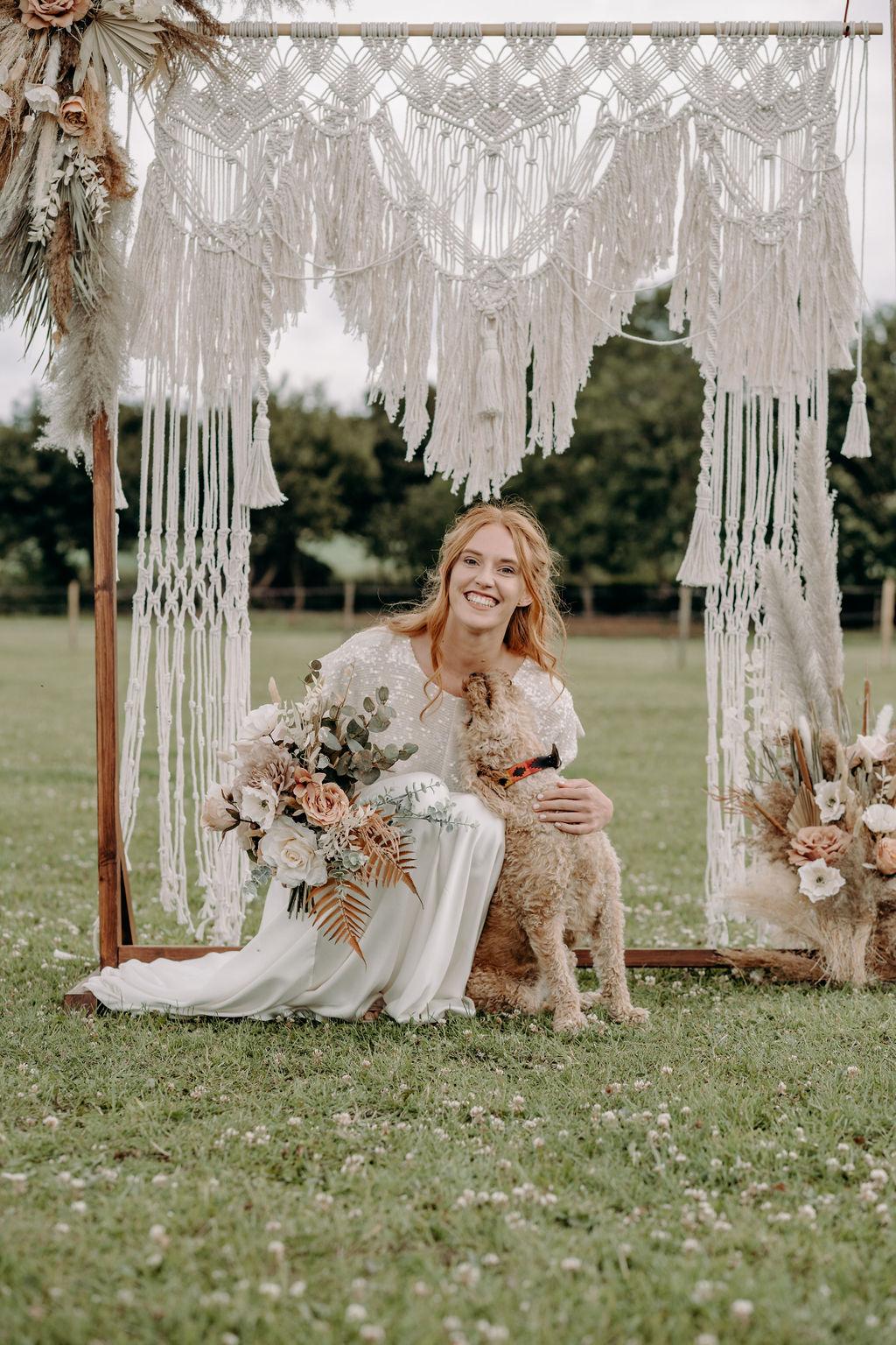 macrame wedding backdrop - sustainable wedding -eco friendly wedding - bohemian wedding styling - unconventional wedding
