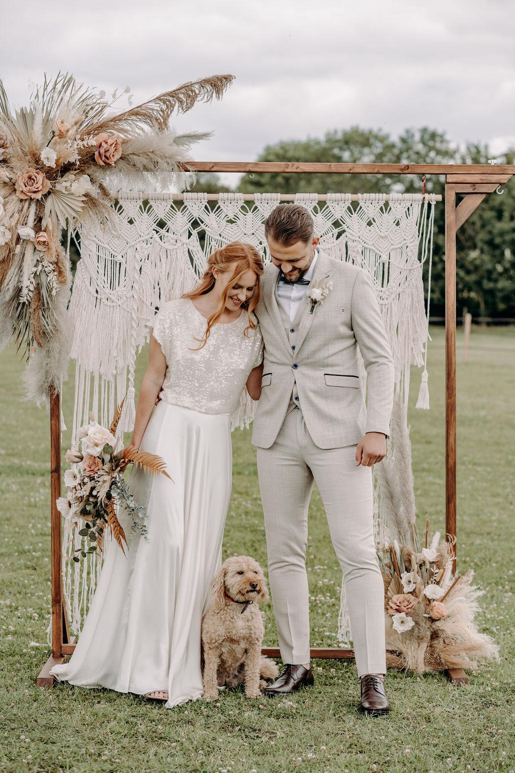 sustainable boho wedding - bohemian micro wedding - boho elopement - sustainable wedding - macrame wedding backdrop - boho wedding styling - unconventional wedding