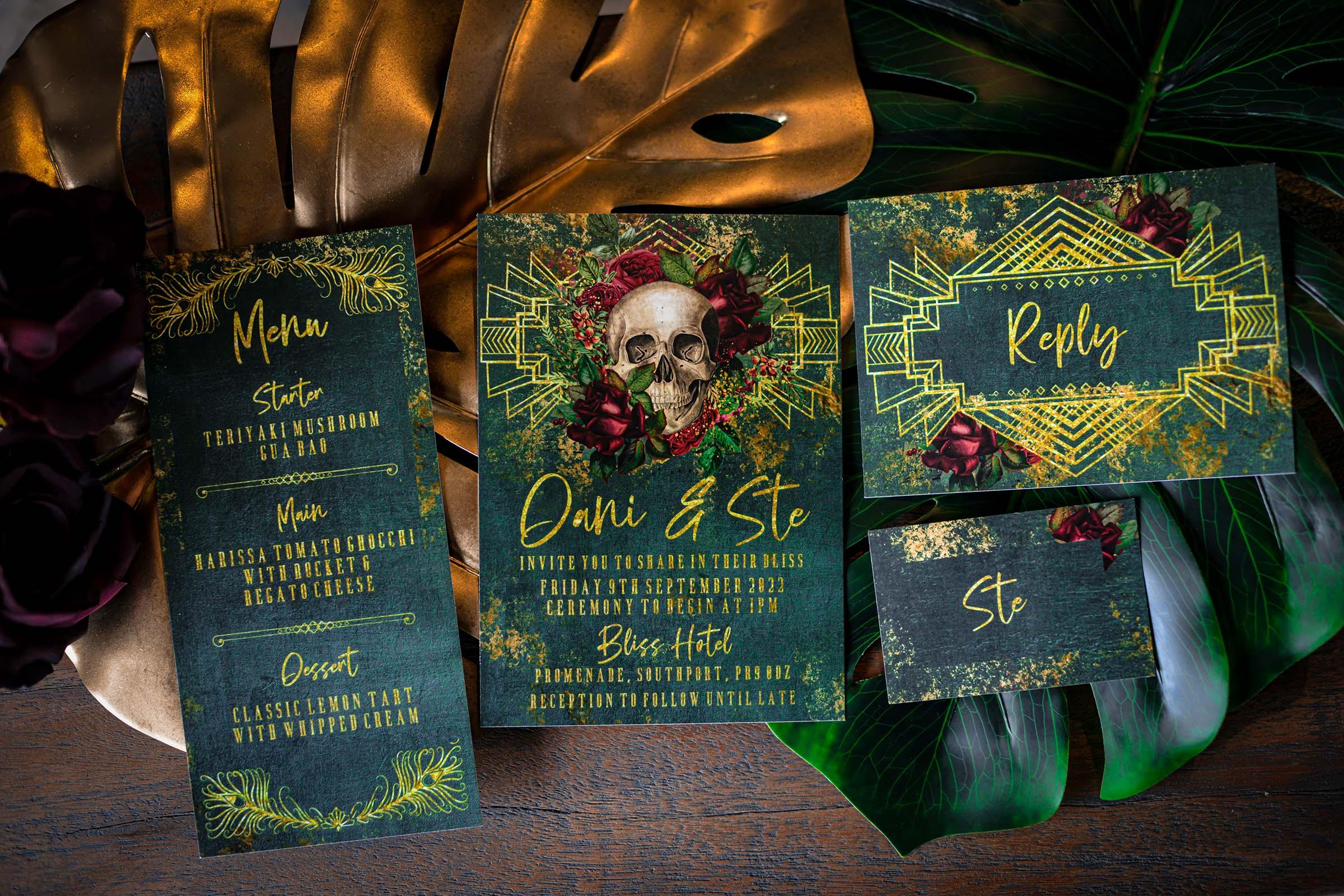 alternative luxe wedding - slytherin wedding - gothic wedding - alternative wedding - skull wedding stationery - gothic wedding stationery - alternative wedding invitations