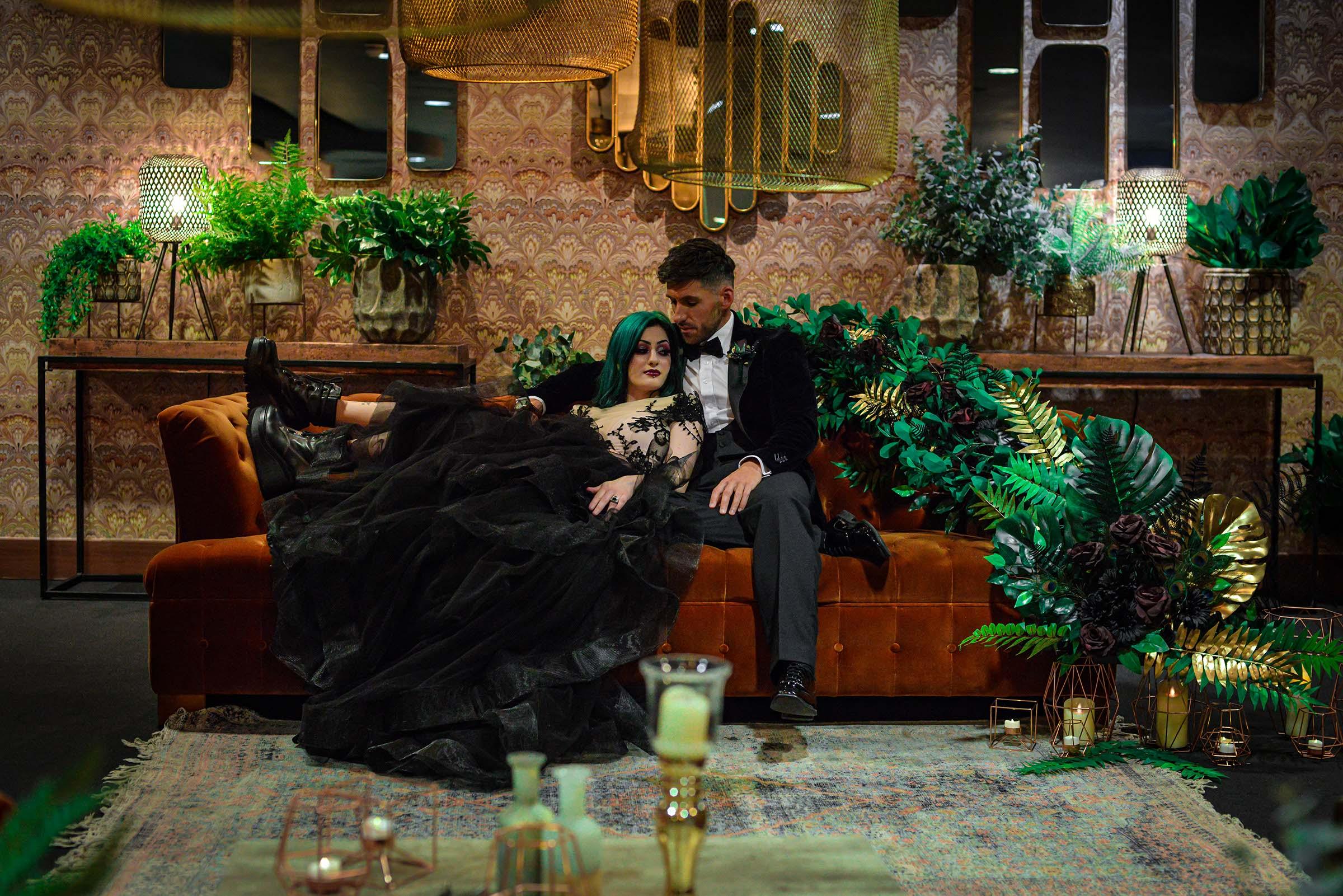 alternative luxe wedding - slytherin wedding - gothic wedding - alternative wedding - black wedding dress - wedding plants
