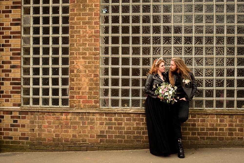 gothic city wedding - alternative wedding - gothic micro wedding - black wedding dress - gothic wedding photo shoot