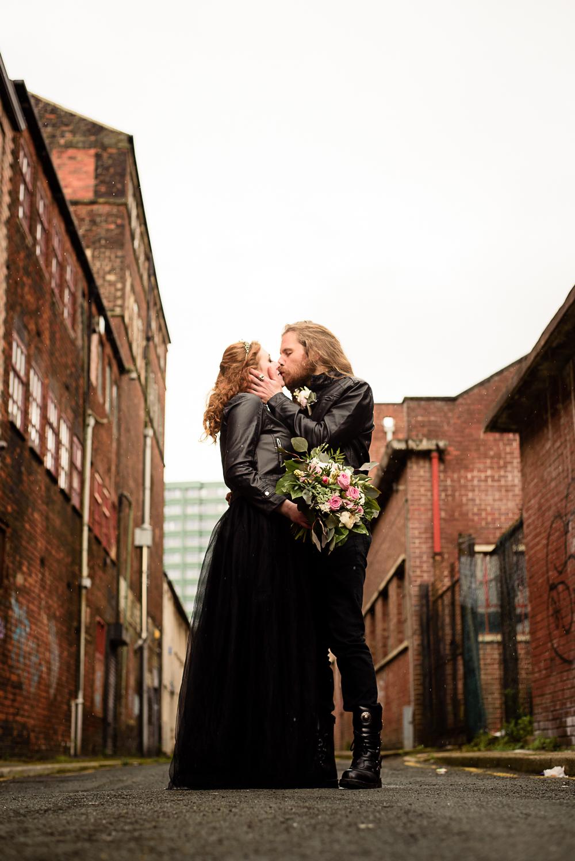 gothic city wedding - alternative wedding - gothic micro wedding - black wedding dress - rock wedding - sheffield wedding