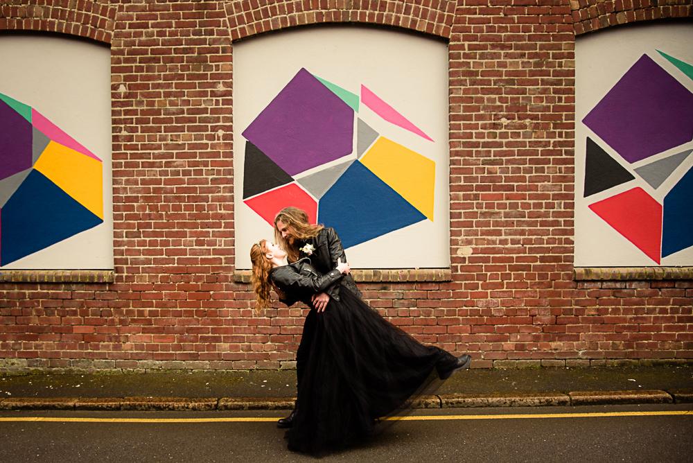 gothic city wedding - alternative wedding - gothic micro wedding - black wedding dress - gothic wedding dress
