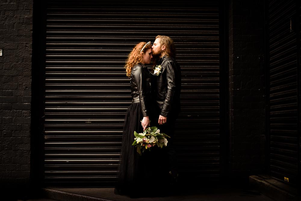 gothic city wedding - alternative wedding - gothic micro wedding - black wedding dress - edgy wedding - gothic wedding photos - unconventional wedding