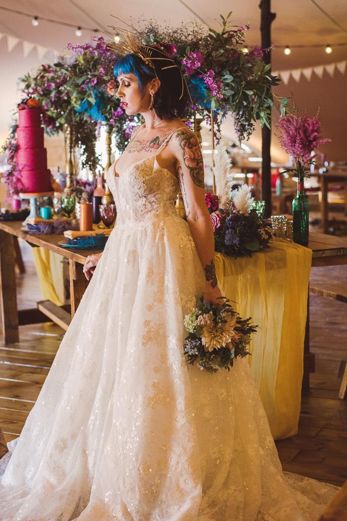 festival wedding - edgy bride - unique bridal look - alternative bridal headdress - bride with blue hair - festival wedding styling