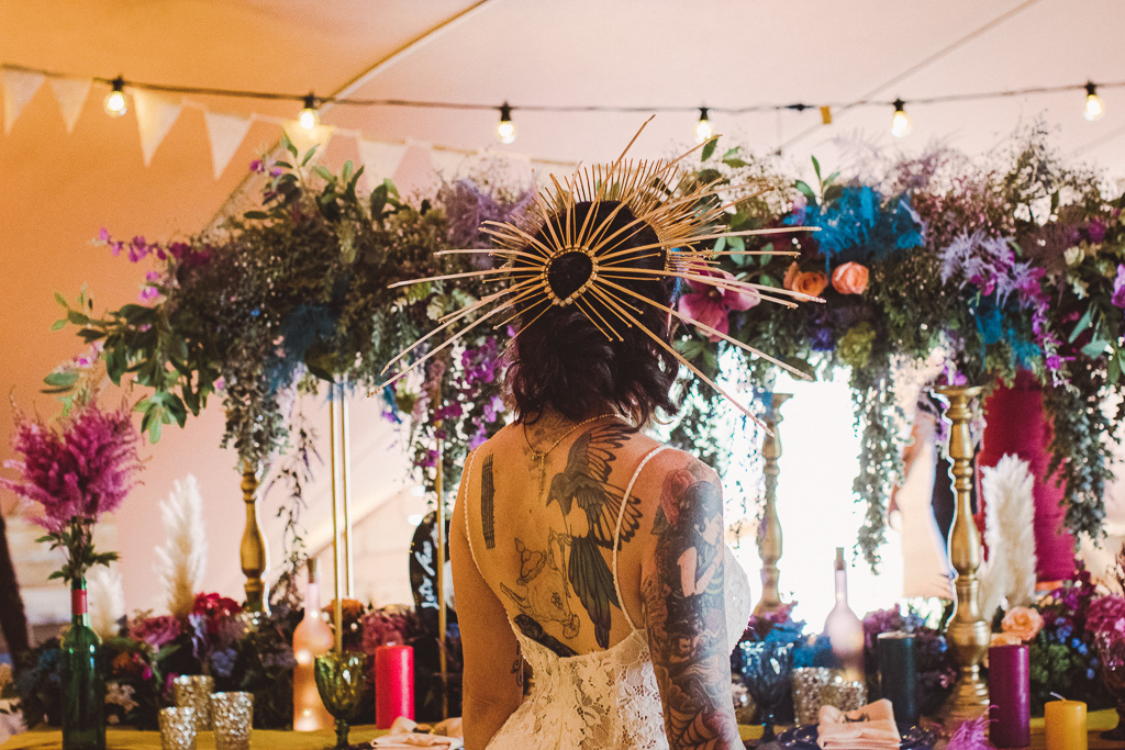 festival wedding - unique wedding headdress - unique bridal wear - alternative bridal wear -unique wedding styling
