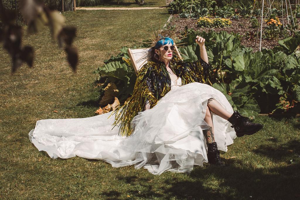 festival wedding - festival bride - eccentric bride - unique wedding headdress - bridal tassel jacket