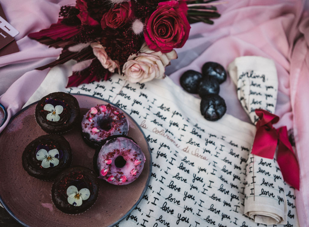 modern industrial wedding - alternative wedding - unconventional wedding - edgy wedding - wedding doughnuts - unique wedding napkins