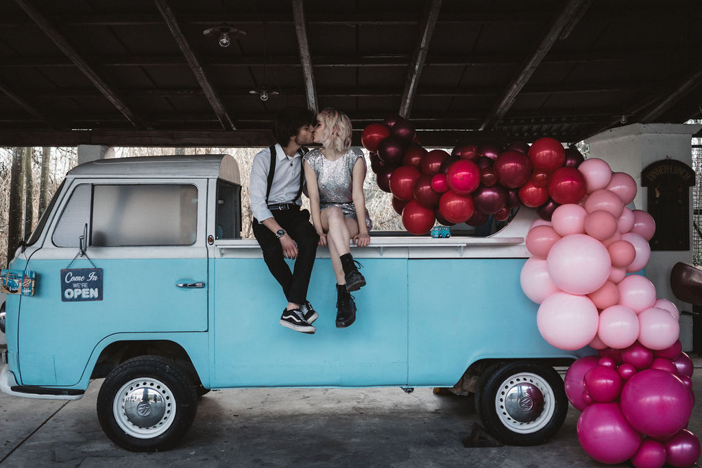 modern industrial wedding - alternative wedding - unconventional wedding - edgy wedding - unique wedding balloons - blue wedding campervan - creative wedding ideas