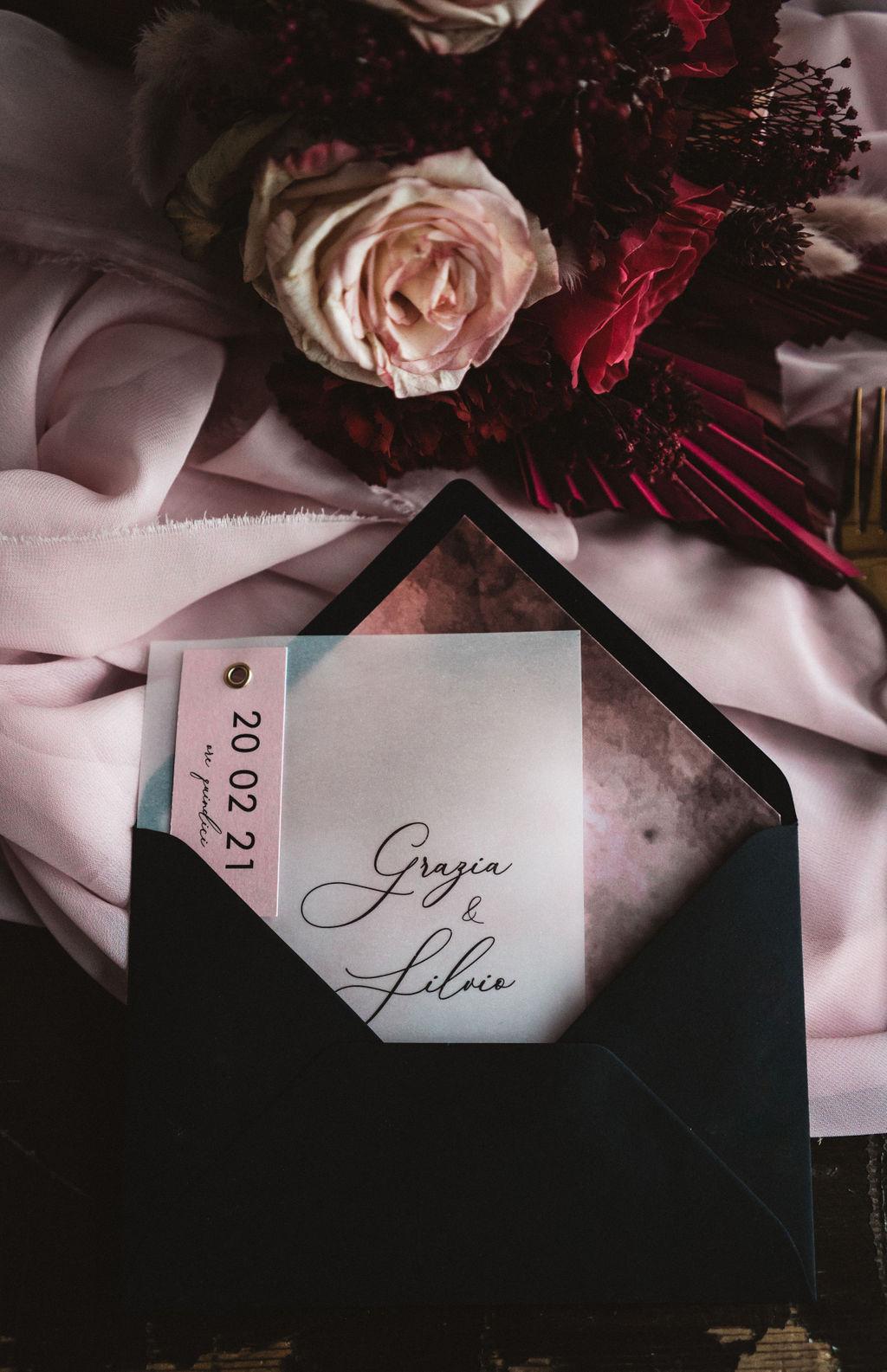 elegant wedding stationery - modern industrial wedding - alternative wedding - unconventional wedding - edgy wedding - pink and black wedding