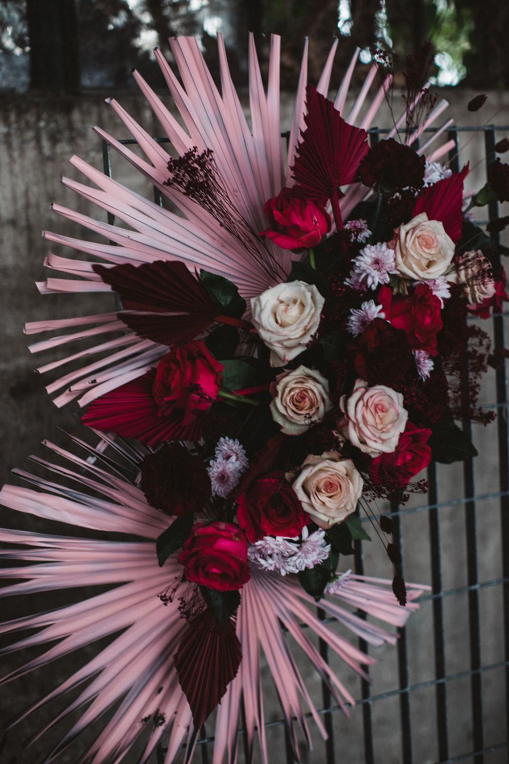 modern industrial wedding - alternative wedding - unconventional wedding - edgy wedding - unique wedding flowers - alternative wedding flowers - pink wedding flowers