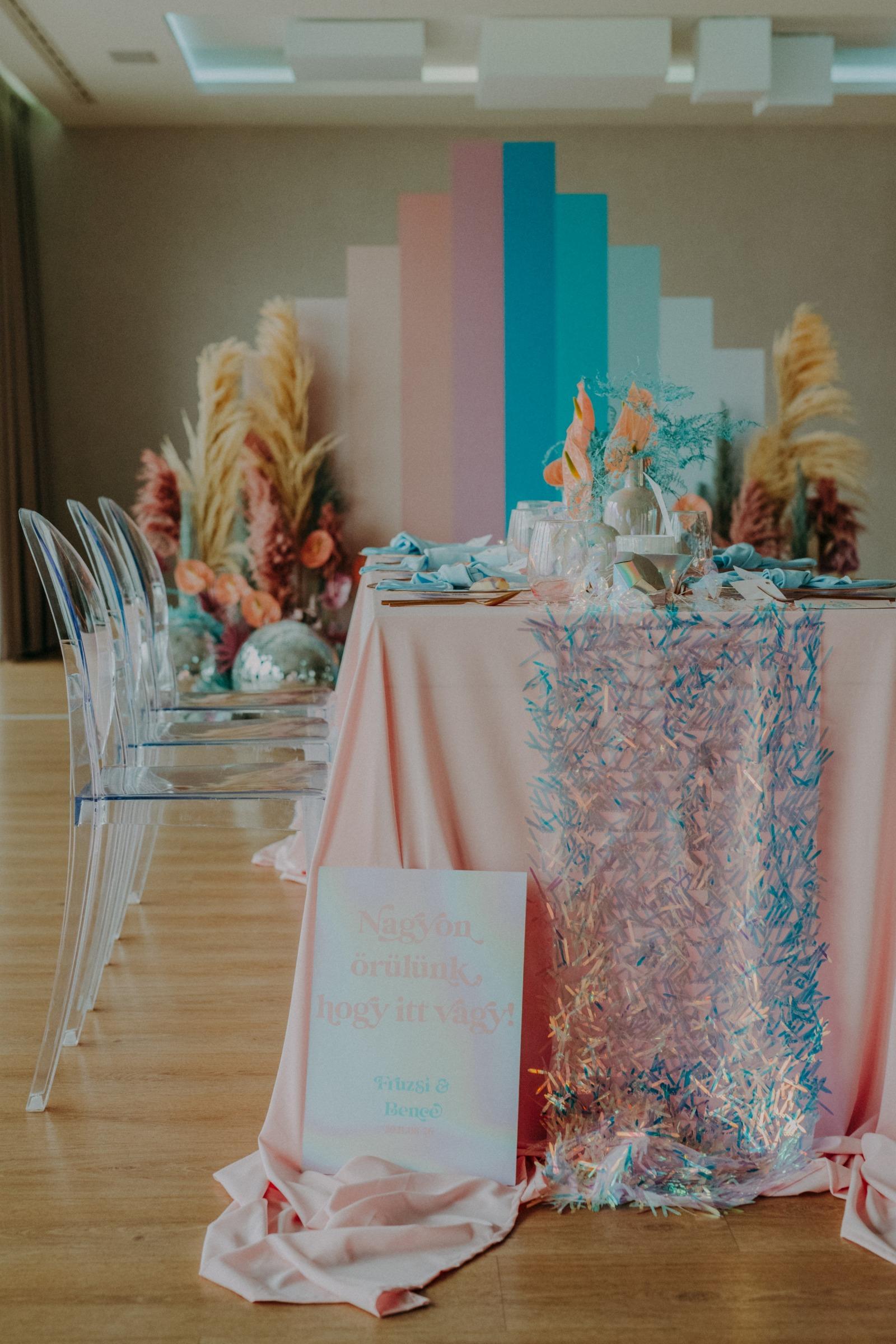 colourful pastel wedding - unconventional wedding - alternative wedding - quirky wedding - sparkly wedding - bold wedding - modern wedding decor