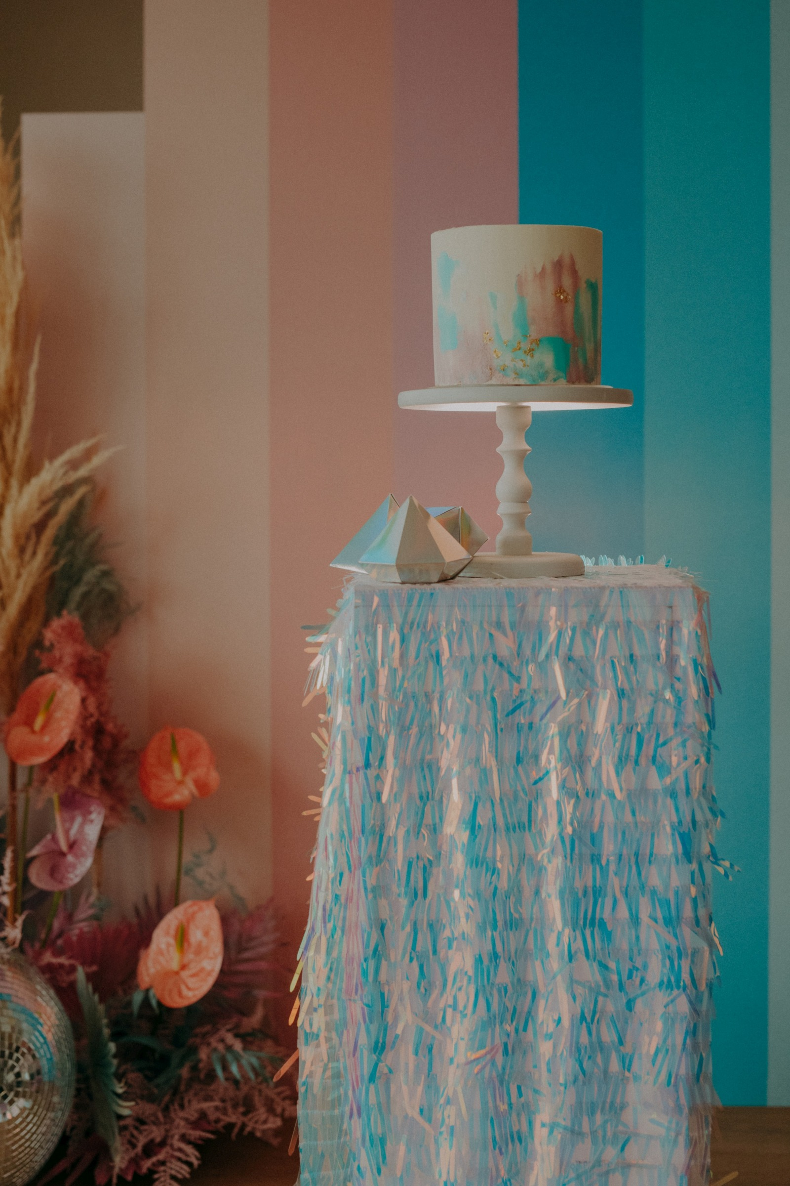 colourful pastel wedding - unconventional wedding - alternative wedding - sparkly wedding - small wedding cake - unique wedding cake