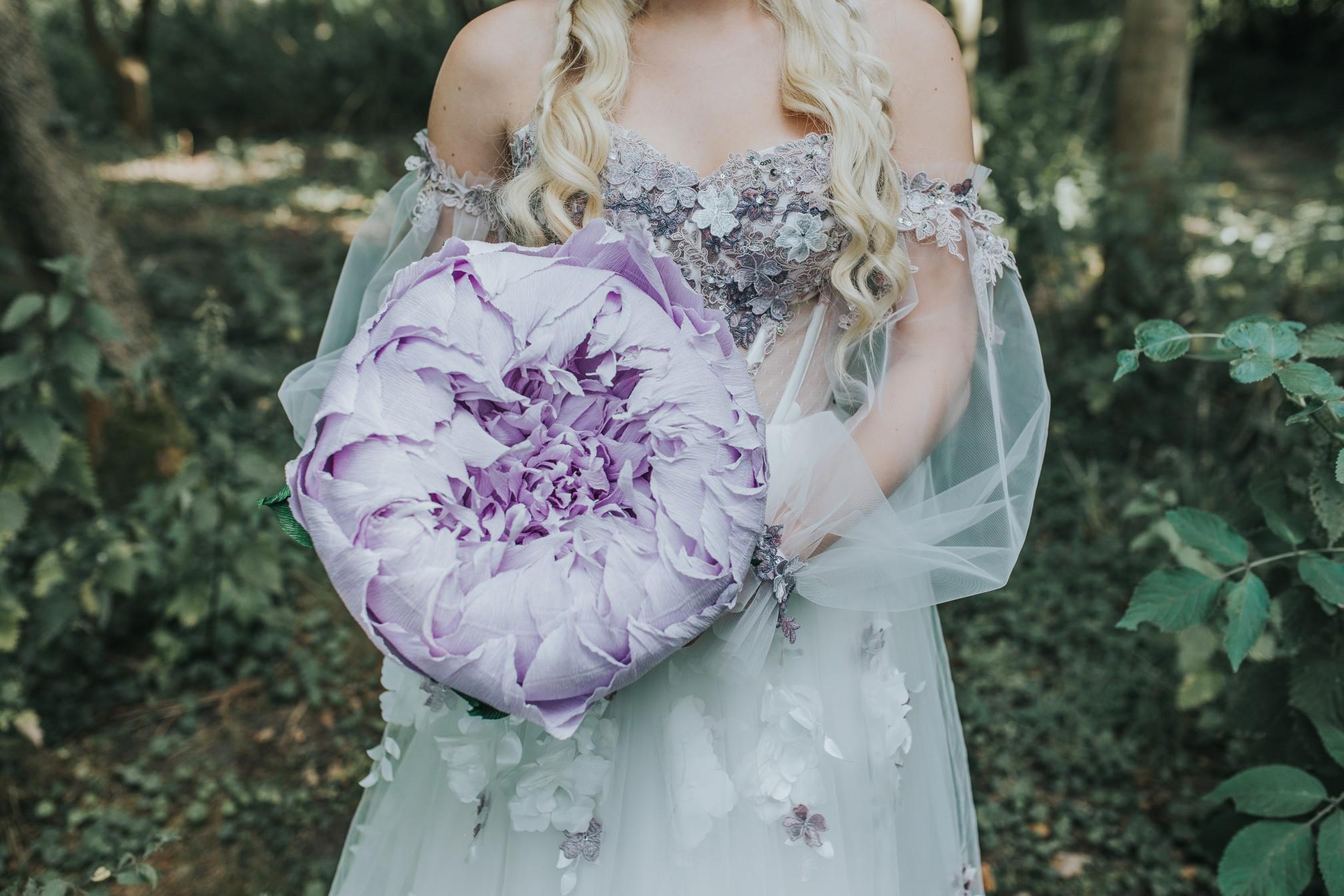 fairy wedding - whimsical wedding - magical wedding - elegant wedding dress - paper wedding flowers - alternative wedding bouquet