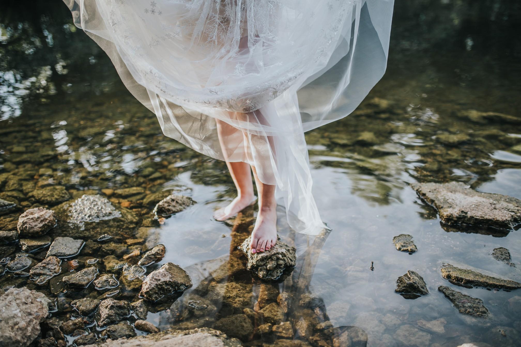 fairy wedding - whimsical wedding - magical wedding - elegant wedding dress - barefoot bride