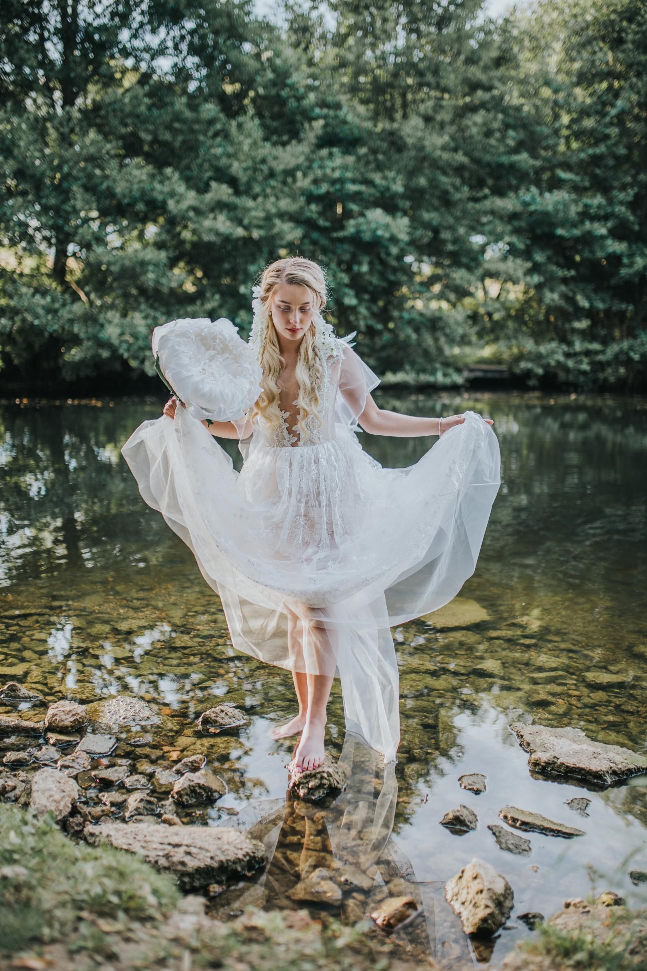 fairy wedding - whimsical wedding - magical wedding - elegant wedding dress - bride by river