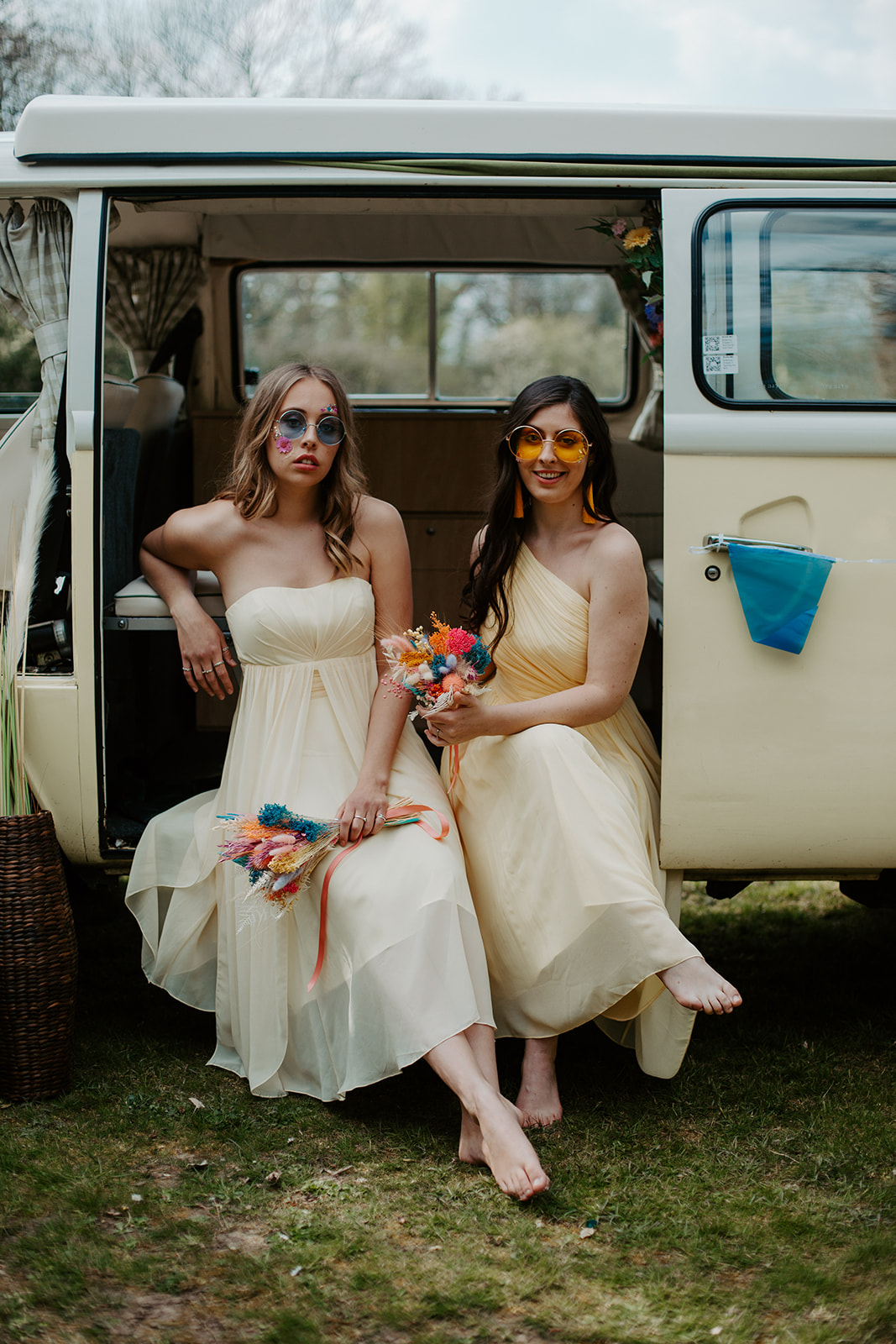 camper van wedding - camper van photo booth - fun wedding photos - bridesmaids in camper van