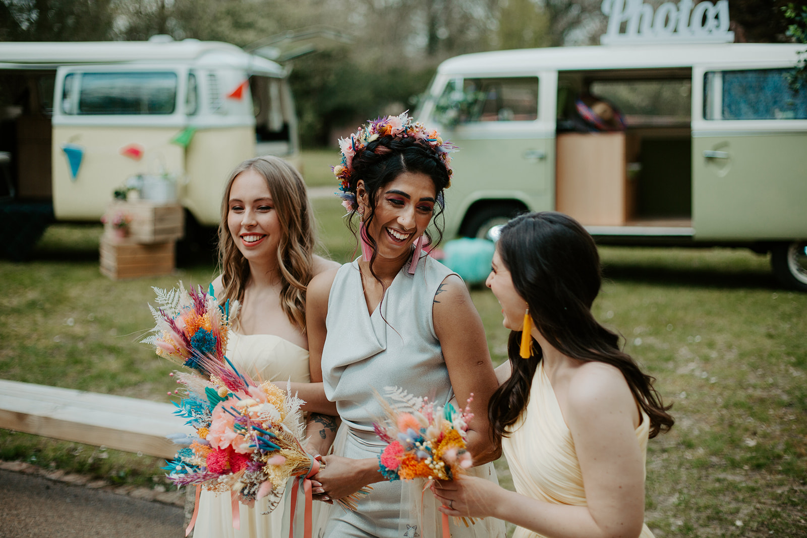 drive in wedding - camper van wedding - colourful wedding flowers - dried wedding flowers