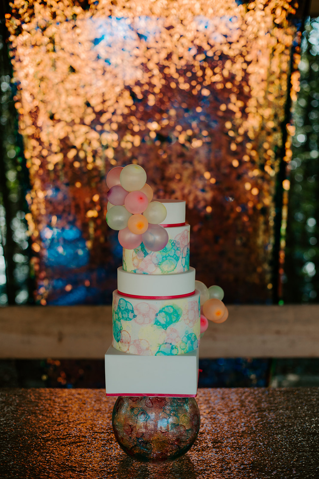 colourful wedding cake - fun wedding cake -geometric wedding cake - bubble wedding cake - unique wedding cake