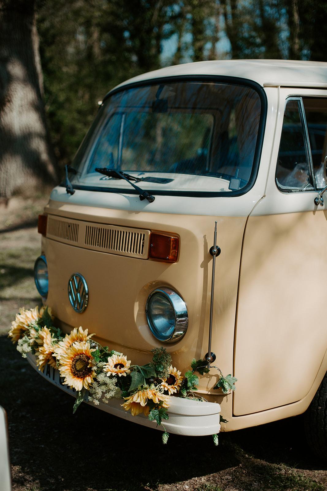drive in wedding - camper van wedding - yellow wedding camper van with sunflowers - unique wedding transport - hippie wedding - boho wedding
