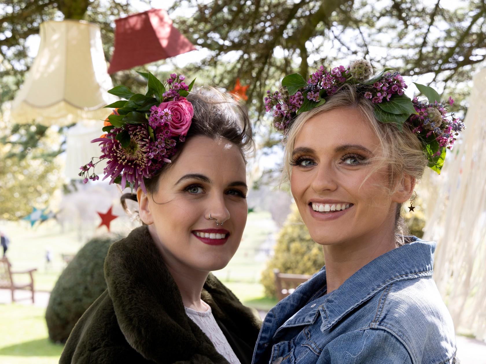 modern boho wedding, bridal flower crown, flower bridal headpiece, same sex wedding